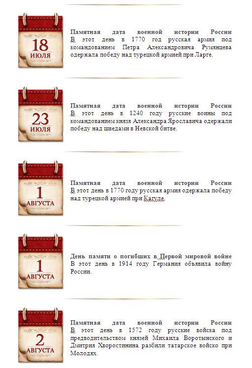 Календарь дат и событий август